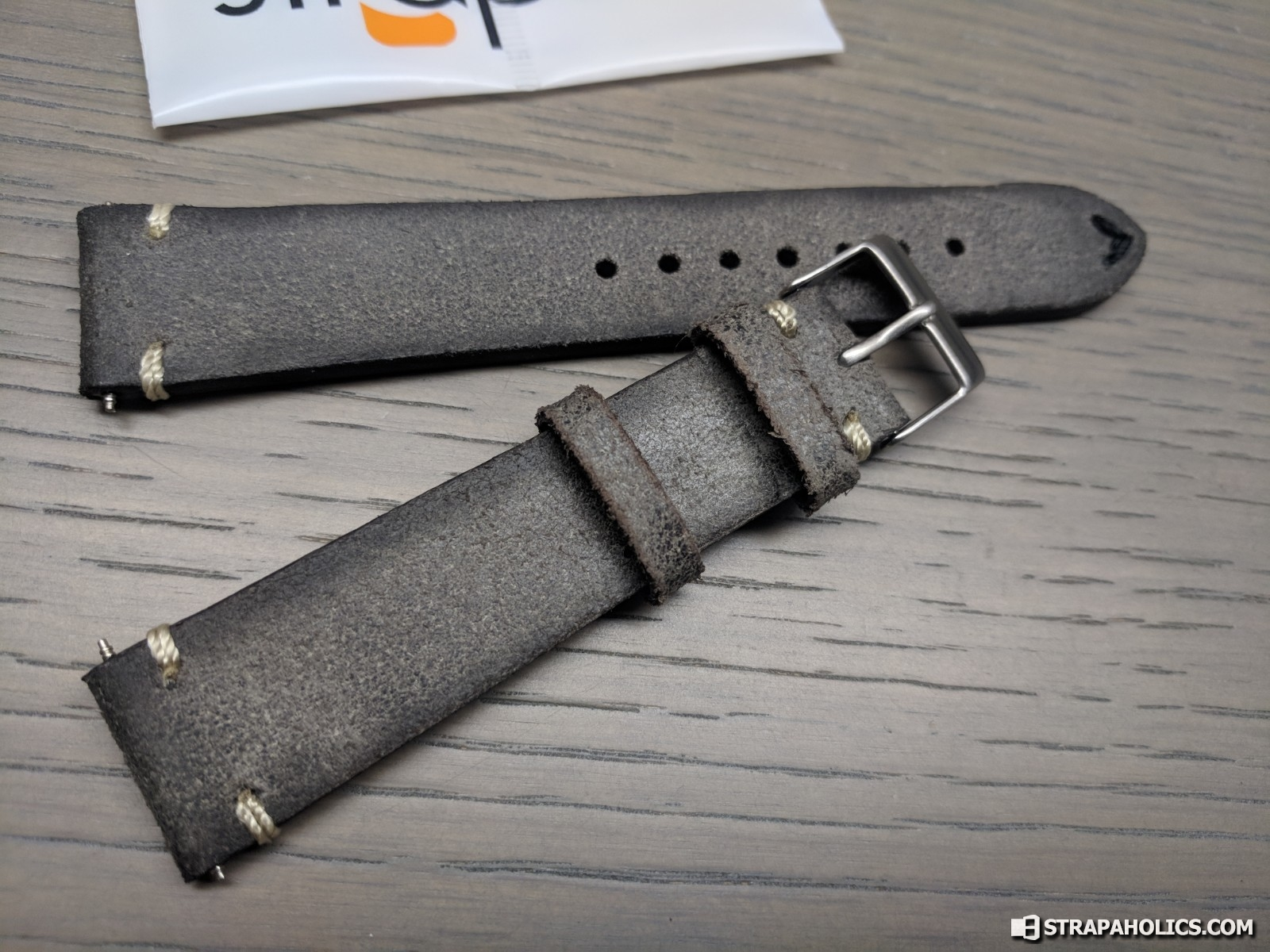 1af53d4d8 Let's take a look at this Grey distressed strap first. Great little  distressed piece with vintage-inspired stitching. The different colored  stitching at the ...